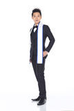 Mister Pageant Contest in Evening Ball suit with Diamond Crown,. Full Length of Mister Pageant Contest in Evening Ball suit with Diamond Crown, blank sash royalty free stock images