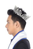 Mister Pageant Contest in Evening Ball suit with Diamond Crown, Royalty Free Stock Image