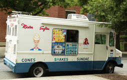 Mister Softee ice cream truck in Park Slope section of Brooklyn. BROOKLYN, NY - JULY 13: Ice cream truck in Park Slope section of Brooklyn on July 13, 2013 Royalty Free Stock Images