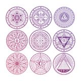 Misterio brillante, brujería, oculta, alquimia, símbolos esotéricos místicos aislados en el fondo blanco libre illustration