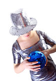 Misterioso muchacha de partido con la bola del disco Imagen de archivo libre de regalías