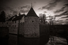 Misterious castle Hallwil. Castle Hallwyl in Switzerland at the night royalty free stock photos