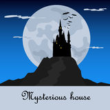 Misterious house in the dark night. Halloween holiday. Flat icon Stock Photos