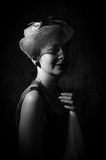 Misterious Lady. Retro Lady in the dark Stock Image