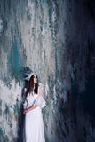 Misterious woman in white crown Royalty Free Stock Photography