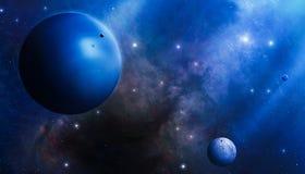 Mistero blu profondo dello spazio Fotografia Stock