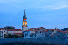Mistery Evening in Old Town of Budva. Montenegro, Balkans, Europe. Royalty Free Stock Photos