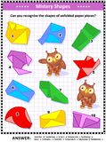 Mistery shapes visual puzzle. IQ training visual puzzle suitable both for kids and adults: Can you recognize the shapes of unfolded paper pieces? Answer included Stock Images