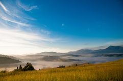 Mistic Fog in the Carpathian Mountains Royalty Free Stock Image