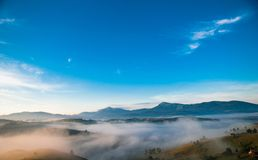 Mistic fog in the mountains. Carpathian, Ukraine Stock Images