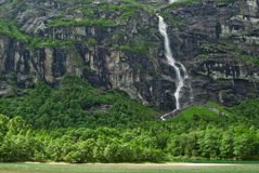 Mistic waterfall in Norway Stock Image