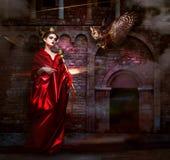 Misticismo.  Fascino. Mago in manto rosso con l'avvoltoio - falco. Castello spaventoso antico Immagine Stock