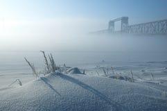 Mistig de winterlandschap Royalty-vrije Stock Afbeeldingen