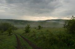 Mistig landschap in aard stock afbeelding