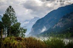 Mistig landschap in bergen Stock Afbeelding