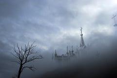 Mistige begraafplaats stock illustratie