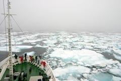 Mistige dag in het noordpoolgebied Stock Foto's