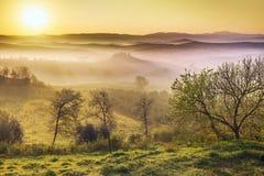 Mistige dageraad in het Italiaans vallei stock foto