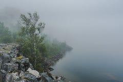 Mistige meerkust, humeurig en atmosferisch stock afbeelding