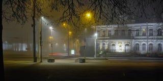 Mistige nacht, Antakalnis, Vilnius, Litouwen stock afbeelding