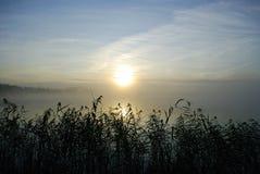 Mistige ochtend op meer stock foto
