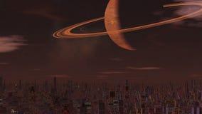 Mistige stad van vreemdelingen en een reusachtige planeet stock videobeelden