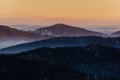 Mistige Zonsopgang in Altijdgroen, Colorado Stock Foto's
