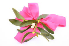 Mistletoe. Bunch of mistletoe with pink ribbon isolated on white royalty free stock photos