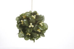 Mistletoe. A plastic (fake) mistletoe isolated on white royalty free stock photography