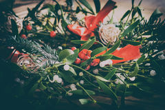 Mistletoe and american flag. Christmas decoration. Royalty Free Stock Images