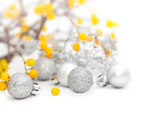 Mistletoe And Silver Christmas Balls Royalty Free Stock Photo