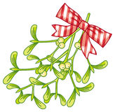 Mistletoe with beautiful bow. Christmas decoration. Design elements for greetings cards, labels, invitations, stickers and other artistic works. Raster clip Stock Images