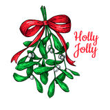 Mistletoe with bow and ribbon. Christmas card with decor plant. Hand drawn vector illustration. Botanical xmas element. Holly with leaves and berry. Great for Stock Photos