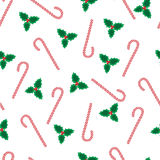 Mistletoe and candycanes christmas pattern Royalty Free Stock Photography