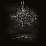 Mistletoe on chalkboard. Hand drawn mistletoe in blackboard. Vector Christmas plant made in chalkboard background. Romantic Christmas illustration. Greeting card Stock Illustration