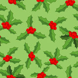 Mistletoe Christmas  pattern. Traditional plant background. Fest Royalty Free Stock Image