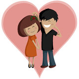 Mistletoe Couple for Valentine's Day Stock Image