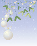 Mistletoe decoration. An illustration of christmas mistletoe plant with silver bauble decorations on a blue snowy background Royalty Free Stock Photo