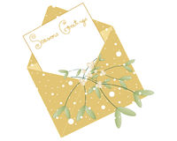 Mistletoe envelope. An illustration of a christmas envelope in gold with a mistletoe decoration and snowflakes on a white background royalty free illustration