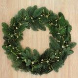 Mistletoe and Fir Wreath Stock Image
