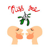 Mistletoe gay kiss Royalty Free Stock Image