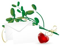 Mistletoe with heart Stock Image