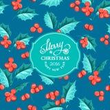 Mistletoe holiday card. Christmas mistletoe holiday card with text. Happy new year 2016.  Christmas flower frame. Greeting elegant card with Christmas decoration Stock Photos