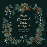 Mistletoe and holly. Christmas and New Year. Vector illustration in vintage style with floral pattern. Christmas. Holly. Mistletoe. New Year. Vector stock photo
