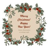 Mistletoe and holly. Christmas and New Year. Vector illustration in vintage style with floral pattern. Christmas. Holly. Mistletoe. New Year. Vector stock images