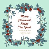 Mistletoe and holly. Christmas and New Year. Vector illustration in vintage style with floral pattern. Christmas. Holly. Mistletoe. New Year. Vector vector illustration