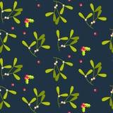 Mistletoe leaves seamless vector pattern. Royalty Free Stock Photos