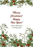 Mistletoe och järnek nytt år för jul Vektorillustration i tappningstil med den blom- modellen royaltyfri fotografi