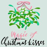 Mistletoe with pink bow and curly ribbon. Christmas lettering. Vector illustraton. Royalty Free Stock Photography