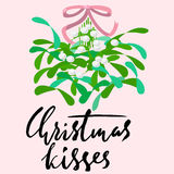 Mistletoe with pink bow and curly ribbon. Christmas lettering. Vector illustraton. Stock Photo